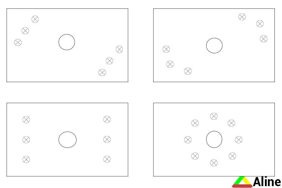 как расставить точечные светильники на натяжном потолке в зале