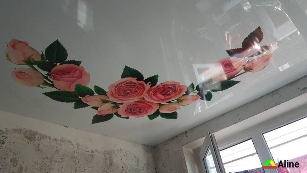 Роза натяжные потолки фотопечать