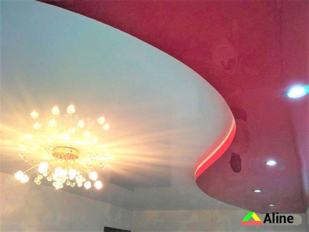 Красные глянцевые натяжные потолки