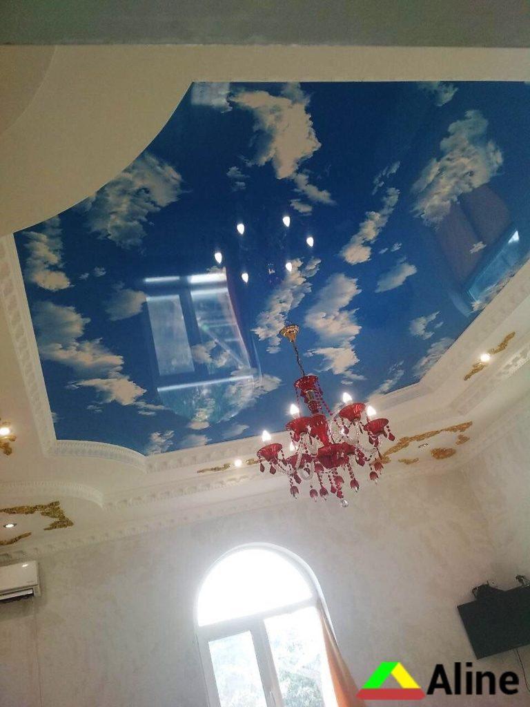 Небо с облаками натяжные потолки с фотопечатью