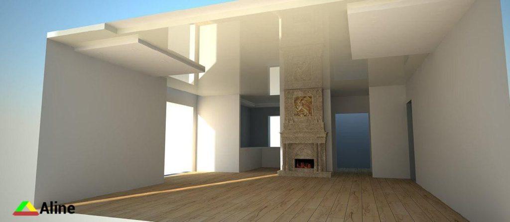Макет комнаты с учетом натяжного потолка