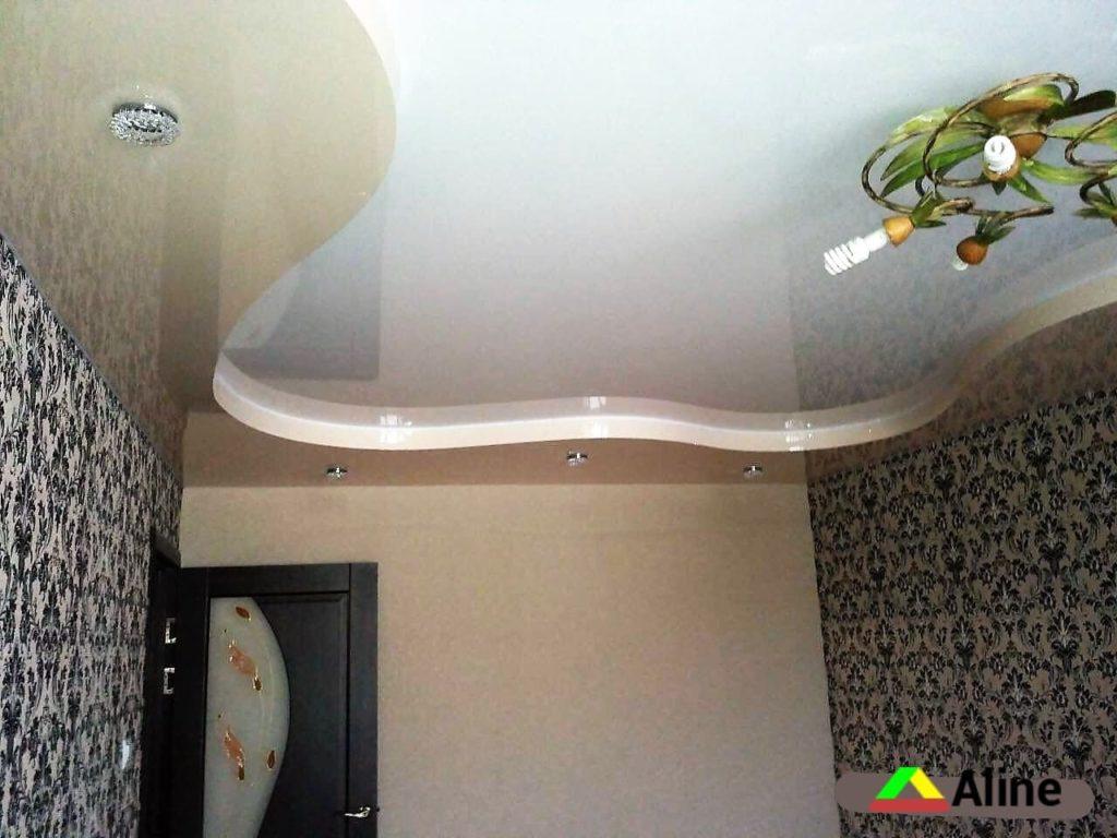 двухуровневый натяжной потолок в зале