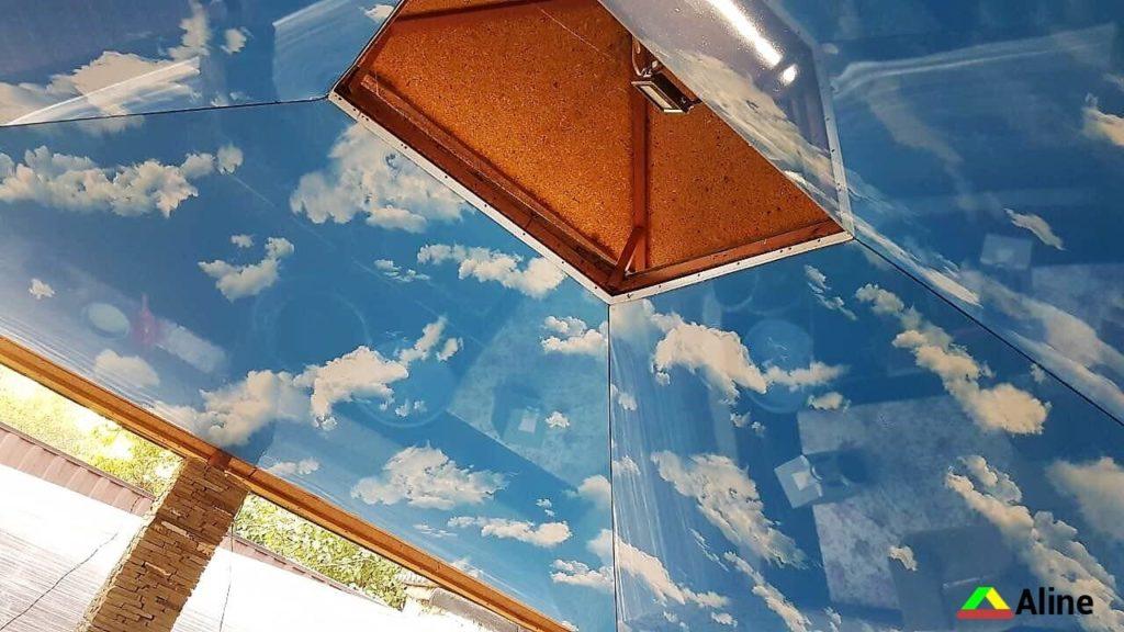 Небо натяжной потолок в беседке Новомосковск