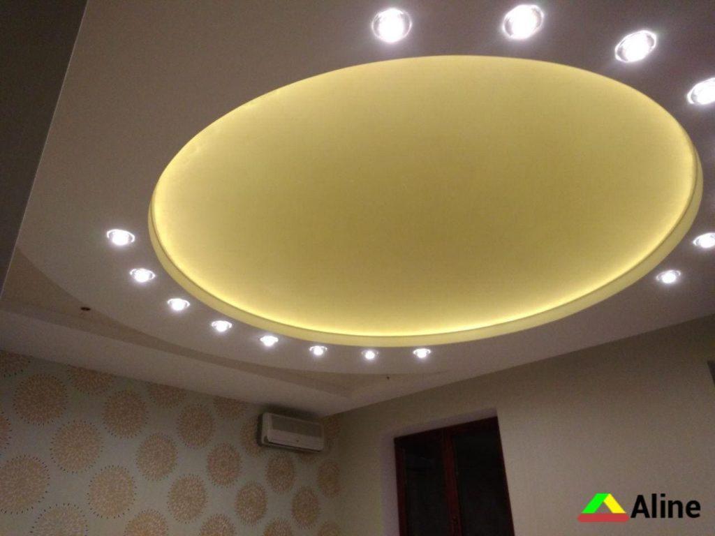 двухуровневые натяжные потолки в форме круга