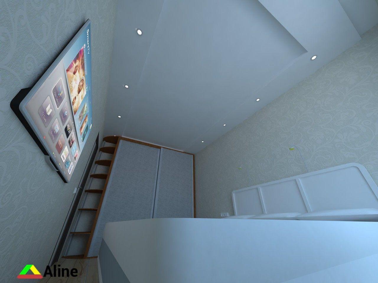 Серый матовый натяжной потолок