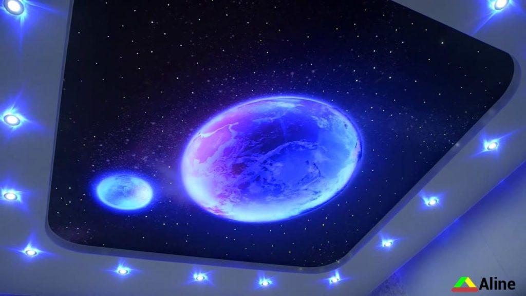 звездное небо и луна натяжные потолки